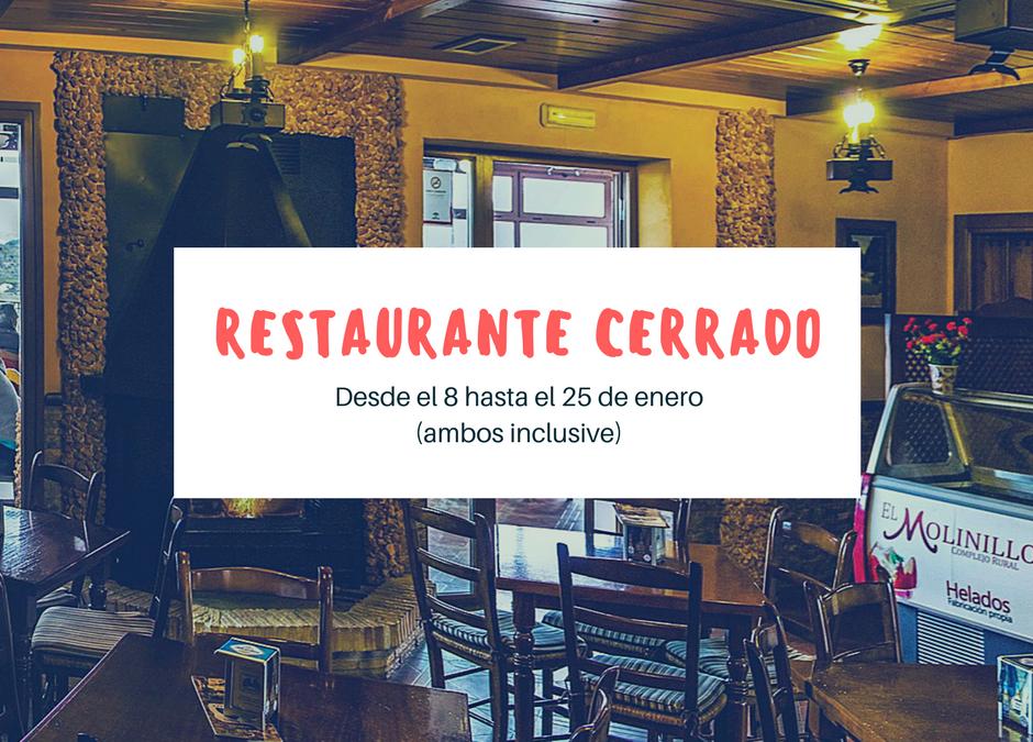 Restaurante cerrado hasta el 25 de enero